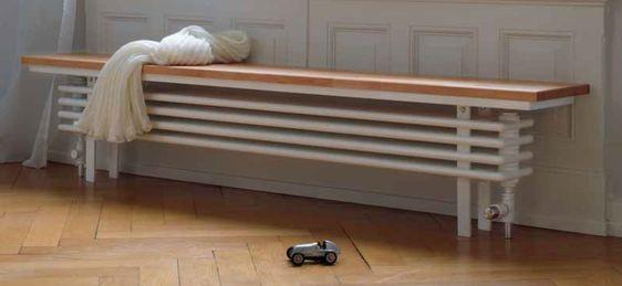 handige houten radiator zitvlak